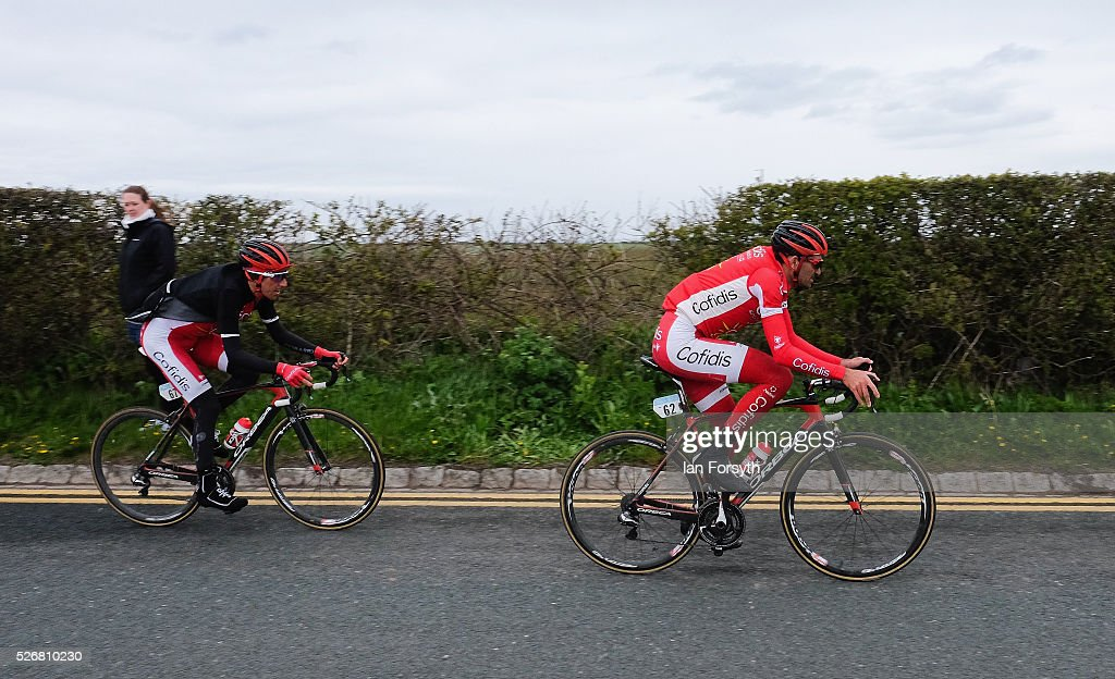 Riders competing in stage three of the Tour de Yorkshire cycle ride along a country road on May 1, 2016 in Whitby, England. Returning for a second year the hugely popular race has grown to be one of the most spectacular events in the British sporting calendar. Up to a million people have lined the route along the three stages of the race which ends today with the 198km Middlesbrough to Scarborough leg.