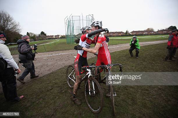 Riders congratulate eachother after competing in the Women's Championship at the 2014 National CycloCross Championships at Moorways Leisure Centre on...