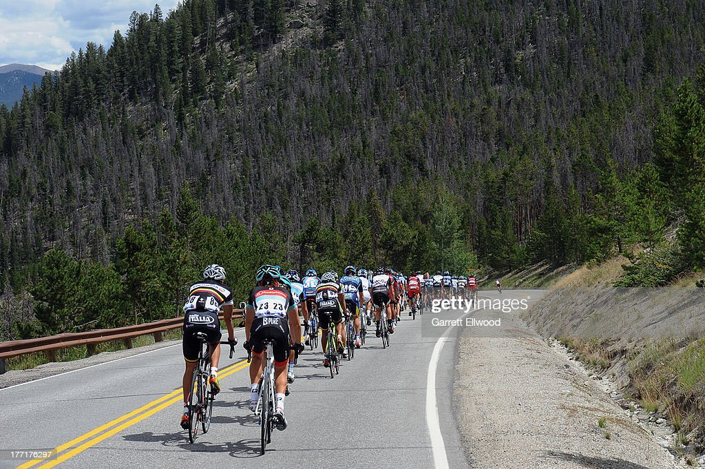 Riders decend Swan Mountain after the start of Stage Three of the USA Pro Cycling Challenge on August 21, 2013 in Breckenridge, Colorado.