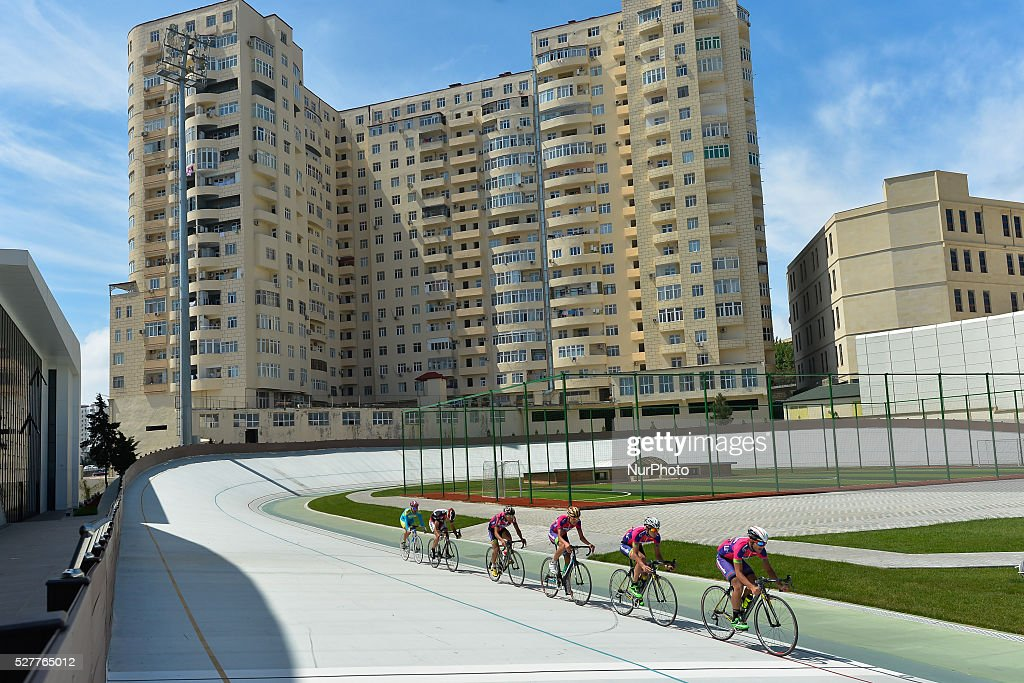 Riders during a training session in Baku Velodrom. On Thursday, 3 May 2016, in Baku, Azerbaijan.