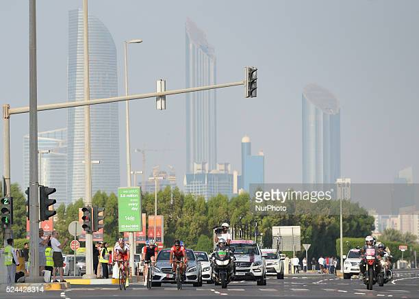Riders during The Capital second stage of the 2015 Abu Dhabi Tour the 129 km from Yas Marina Circuit to Yas Mall After two days of the race Viviani...