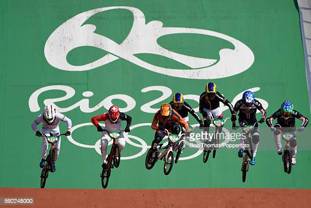 Riders during the Mens BMX Semi Finals on day 14 of the Rio 2016 Olympic Games at the Olympic BMX Centre on August 19 2016 in Rio de Janeiro Brazil...