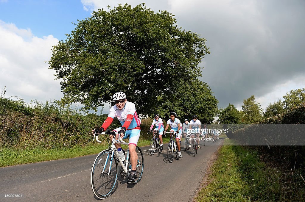 Riders during the second leg of the PruProtect Chance to Ride. Michael Vaughan is leading a host of stars and fundraisers on the event, which will raise funds for the Laureus Sport for Good Foundation and the Cricket Foundation's Chance to Shine initiative on September 10, 2013 in Manchester, England.
