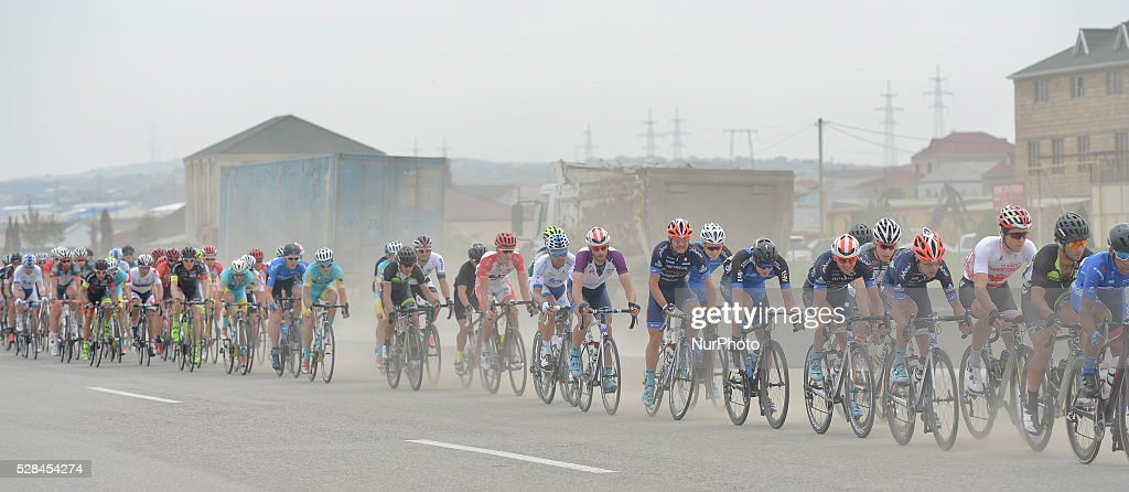 Riders during the second stage of the 5th Tour d'Azerbaijan 2016, Baku to Ismayilly Stage (186.5 km). Ismayilly, Azerbaijan, on Thursday, 5 May 2016.