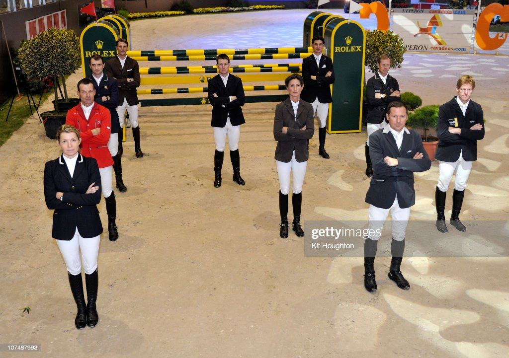Riders Edwina Alexander, Pius Schwizer of Switzeland, Denis Lynch of Ireland, Kevin Staut of France, <a gi-track='captionPersonalityLinkClicked' href=/galleries/search?phrase=McLain+Ward&family=editorial&specificpeople=628996 ng-click='$event.stopPropagation()'>McLain Ward</a> of USA, Penelope Leprevost of France, Steve Guerdat of Switzerland, Rolf-Goran Bengtsson of Sweden, <a gi-track='captionPersonalityLinkClicked' href=/galleries/search?phrase=Eric+Lamaze&family=editorial&specificpeople=624827 ng-click='$event.stopPropagation()'>Eric Lamaze</a> of Canada, and <a gi-track='captionPersonalityLinkClicked' href=/galleries/search?phrase=Marcus+Ehning&family=editorial&specificpeople=539689 ng-click='$event.stopPropagation()'>Marcus Ehning</a> of Germany pose prior to competing in the Rolex IJRC Top Ten Final pose on December 09, 2010 in Geneva Switzerland.