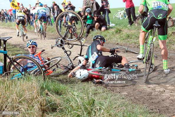 Riders fall on MonsenPevele cobblestoned section during 2016 ParisRoubaix Race on April 10 2016 in Roubaix France