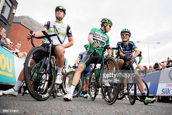 Riders from Dimension Date Caja RuralSegnuros Rga and OricaBikeExchange await the start of stage three of the 2016 Tour of Britain from Congleton to...