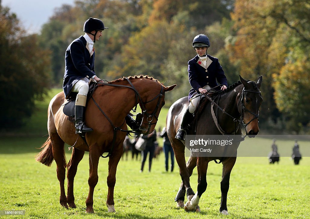 Riders from the Duke of Beaufort's Hunt gather for their opening meet of the season at Worcester Lodge on November 2, 2013 near Badminton in Gloucestershire, England. Traditionally the hunting season starts at the beginning of November and although a ban on fox hunting with dogs has been in force since February 2005, many supporters of fox hunting are continuing to call for a repeal of the ban, saying the current law is hard to interpret and enforce.