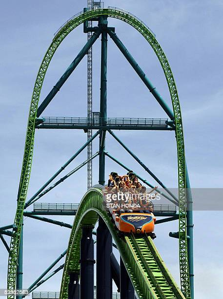 Riders go over a second hill after climbing and decending the main tower of the 'Kingda Ka' roller coaster 19 May at Six Flags amusement park in...