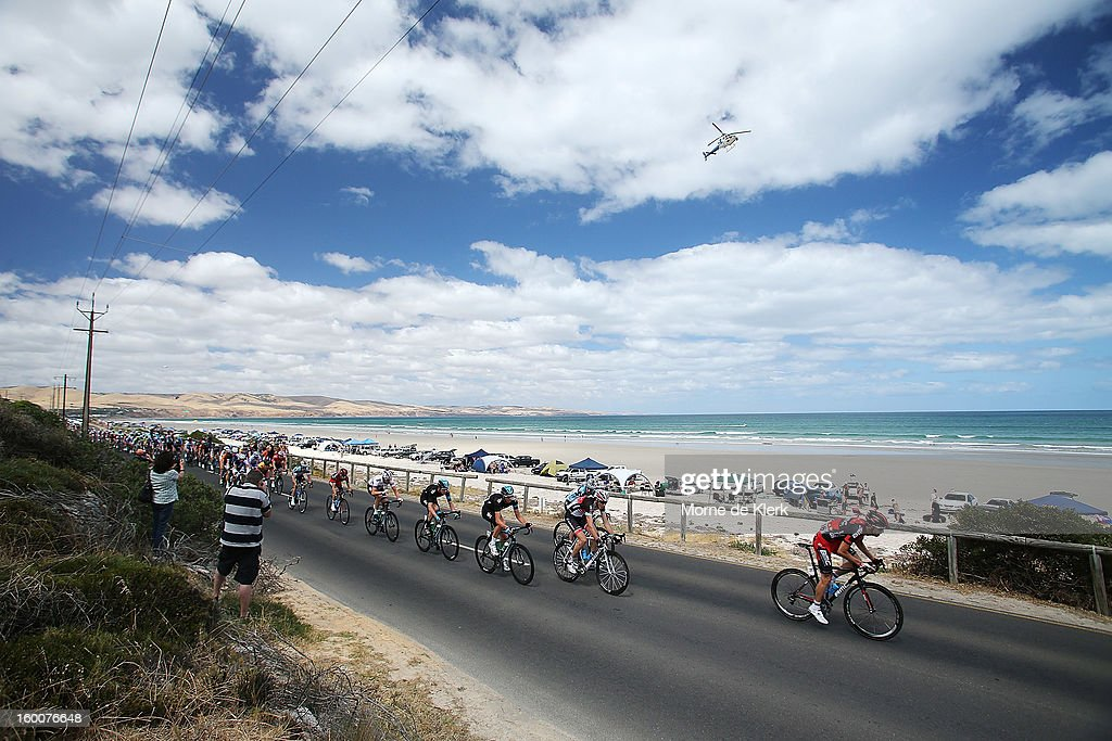 Riders go past Aldinga Beach during stage five of the 2013 Tour Down Under on January 26, 2013 in Adelaide, Australia.