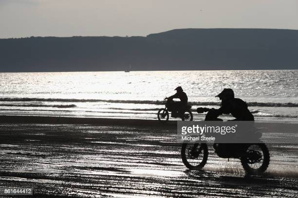 Riders head down the main beach straight during the Adults Solo Race during day two of the HydroGarden Weston Beach Race on October 15 2017 in...