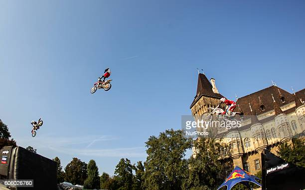 FMX riders in action during the final of the 17th of OSG Offline Sport Games at Városliget on Sept 10 2016 in Budapest Hungary