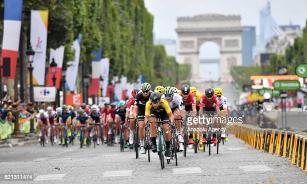 Riders in action during the final stage of the Tour de France 2017 cycling race at the Avenue des ChampsElysees in Paris France on July 23 2017
