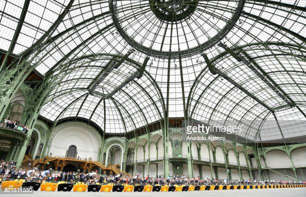 Riders in action during the final stage of the Tour de France 2017 cycling race at the Grand Palais in Paris France on July 23 2017