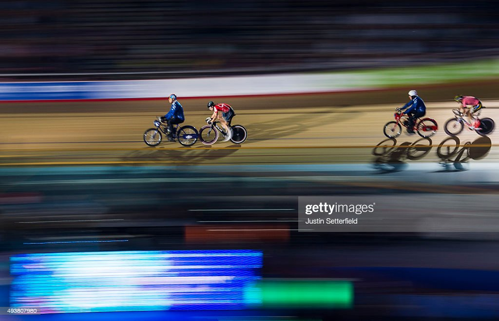 Riders in action during the The Derny Race during day Five of the London Six Day Race at the Lee Valley Velopark on October 22, 2015 in London, England.