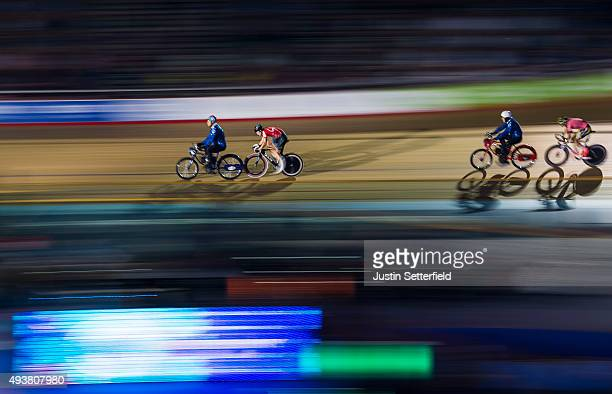 Riders in action during the The Derny Race during day Five of the London Six Day Race at the Lee Valley Velopark on October 22 2015 in London England