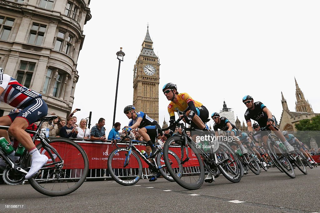 Riders, including Sir <a gi-track='captionPersonalityLinkClicked' href=/galleries/search?phrase=Bradley+Wiggins&family=editorial&specificpeople=182490 ng-click='$event.stopPropagation()'>Bradley Wiggins</a> (C), compete in stage eight of the Tour of Britain on September 22, 2013 in London, England. Today's 88km route along the banks of the river Thames and concluding on Whitehall is the final stage of the race. Sir <a gi-track='captionPersonalityLinkClicked' href=/galleries/search?phrase=Bradley+Wiggins&family=editorial&specificpeople=182490 ng-click='$event.stopPropagation()'>Bradley Wiggins</a>, riding for Team Sky Procycling, currently leads the race, beginning today's stage with a 26 second advantage.
