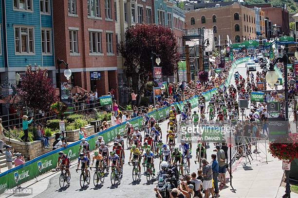 Riders leave for the start of stage 7 of the Tour of Utah on August 9 2015 in Park City Utah