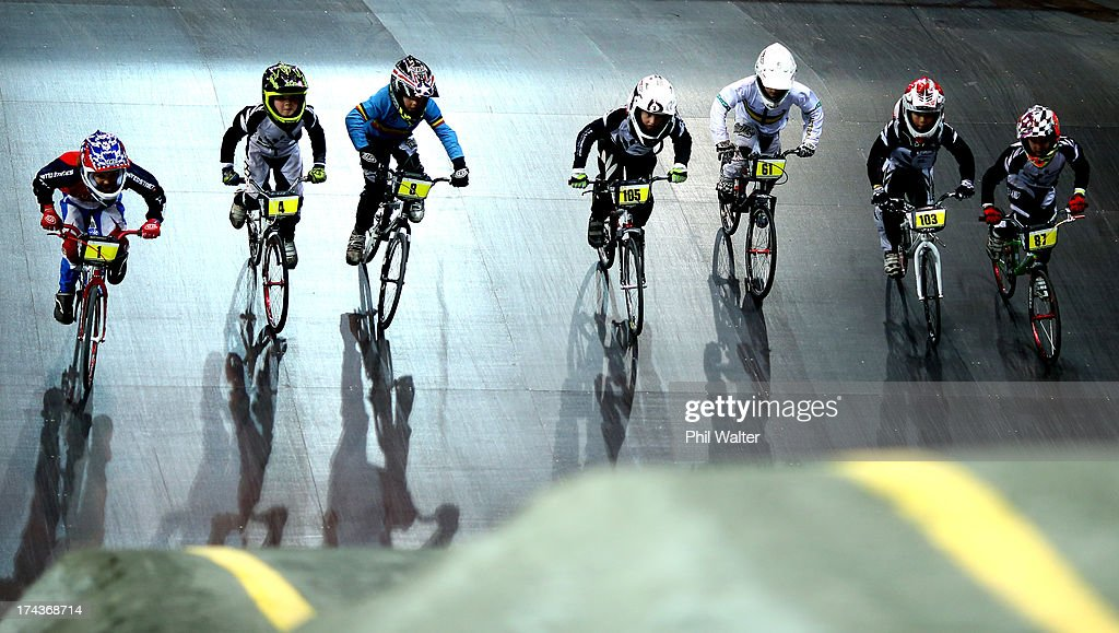 Riders leave the start ramp during day two of the UCI BMX World Championships at Vector Arena on July 25, 2013 in Auckland, New Zealand.