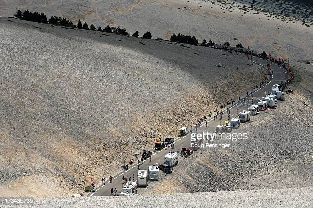 Riders make theiir way up the slopes of Mont Ventoux during stage fifteen of the 2013 Tour de France a 2425KM road stage from Givors to Mont Ventoux...