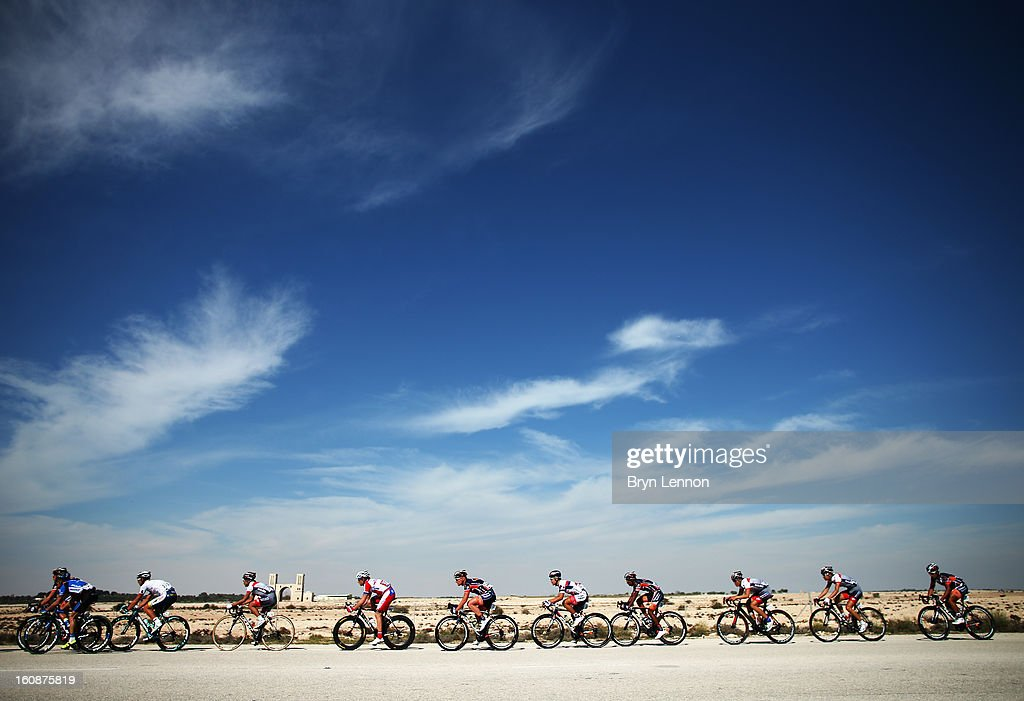 Riders make their way through the desert on stage five of the 2013 Tour of Qatar from Al Zubara Fort to Madinat Al Shamal on February 7, 2013 in Madinat Al Shamal, Qatar.