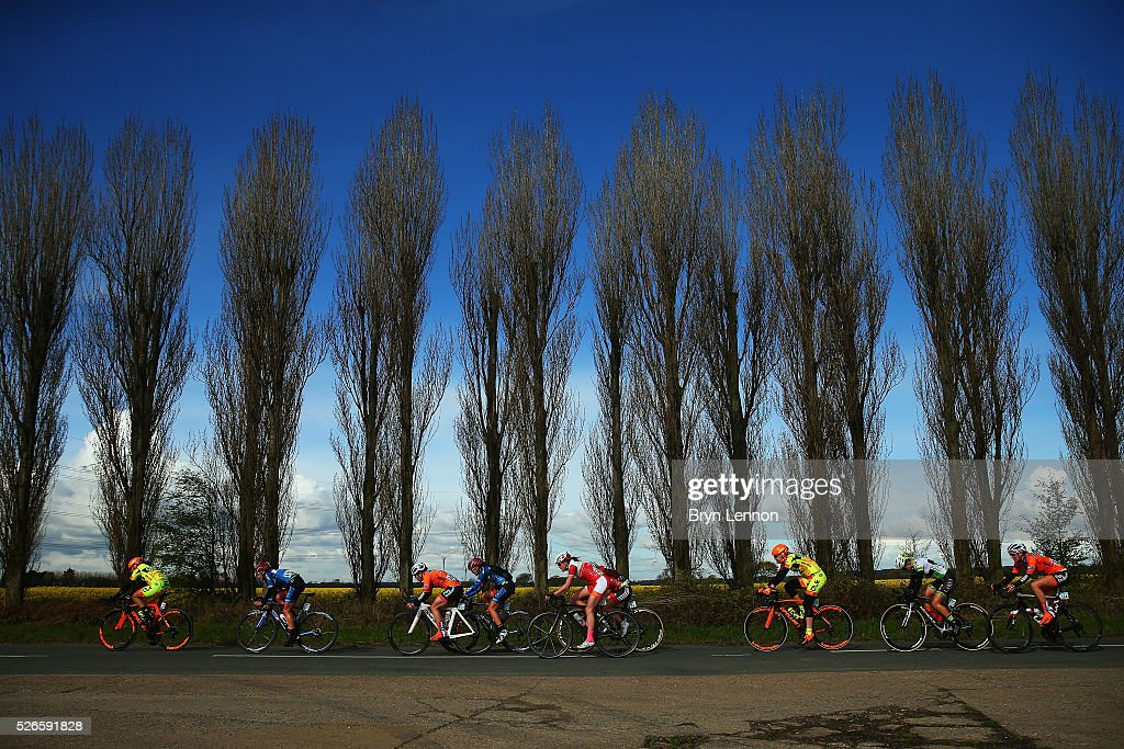 Riders make their way through the Yorkshire countyside during the inaugural Women's Tour de Yorkshire between Otley and Doncaster on April 30, 2016 in Doncaster, England.