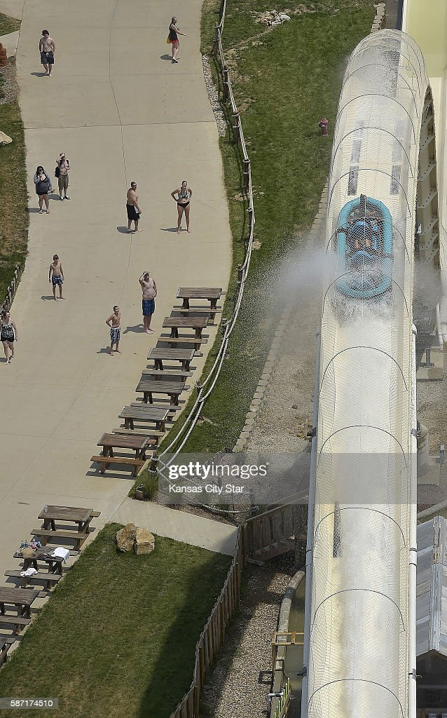 Riders make their way up the hump after coming down Verruckt the world's tallest water slide at the Schlitterbahn Kansas City Waterpark on Wednesday...