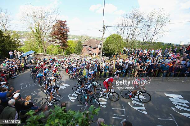 Riders make their way up the Mur de Huy during the 78th edition of the La Fleche Wallonne on April 23 2014 in Huy Belgium The 199km parcours scales...
