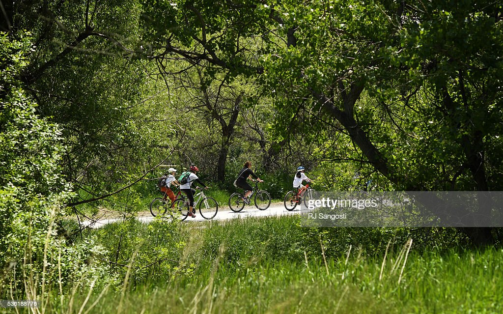Riders make there way along High Line Canal after the launch of an outreach and planning initiative called Adventure on the Canal: Charting our Course for the Next Century, May 31, 2016. The program hopes to engage the public to reimagine ways to preserve, protect and enhance the High Line Canal.