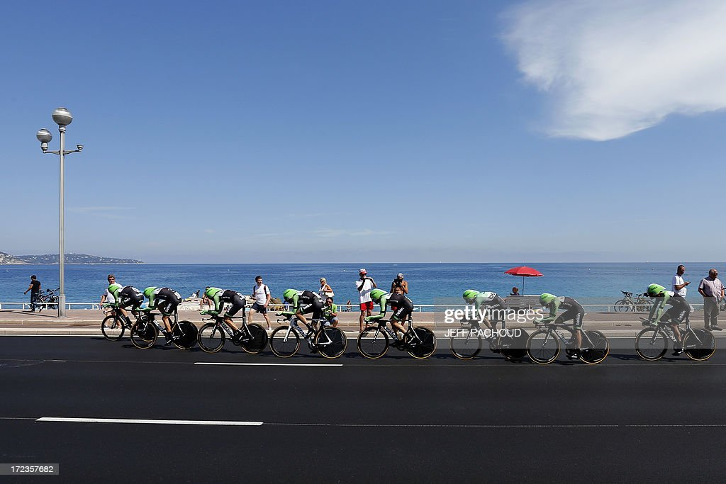 Riders of Belkin team compete during the 25 km team time-trial and fourth stage of the 100th edition of the Tour de France cycling race on July 2, 2013 around Nice, southeastern France.