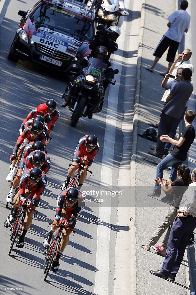 Riders of BMC Racing team compete during the 25 km team time-trial and fourth stage of the 100th edition of the Tour de France cycling race on July 2, 2013 around Nice, southeastern France.