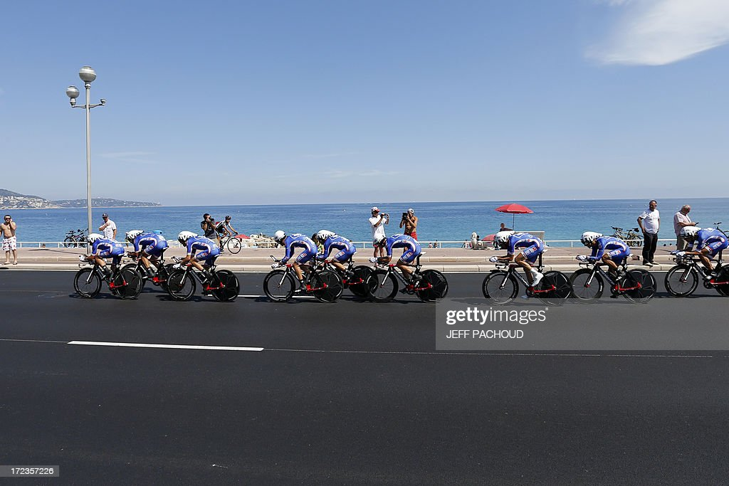 Riders of FDJ.fr team compete during the 25 km team time-trial and fourth stage of the 100th edition of the Tour de France cycling race on July 2, 2013 around Nice, southeastern France.