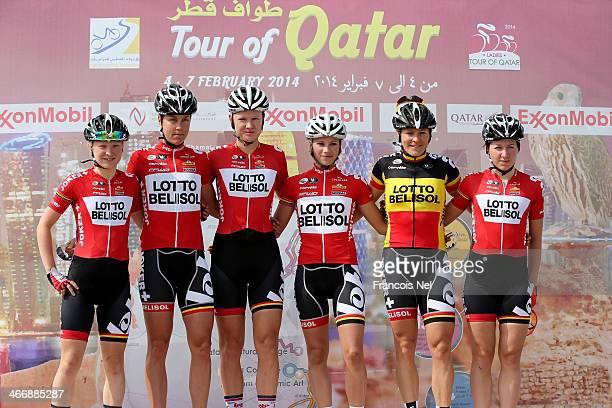 Riders of Lotto Belisol Ladies Jolien D'Hoore of Belguim Liesbeth De Vocht of Belguim Marion Rousse of France Isabelle Soderberg of Sweden Celine Van...