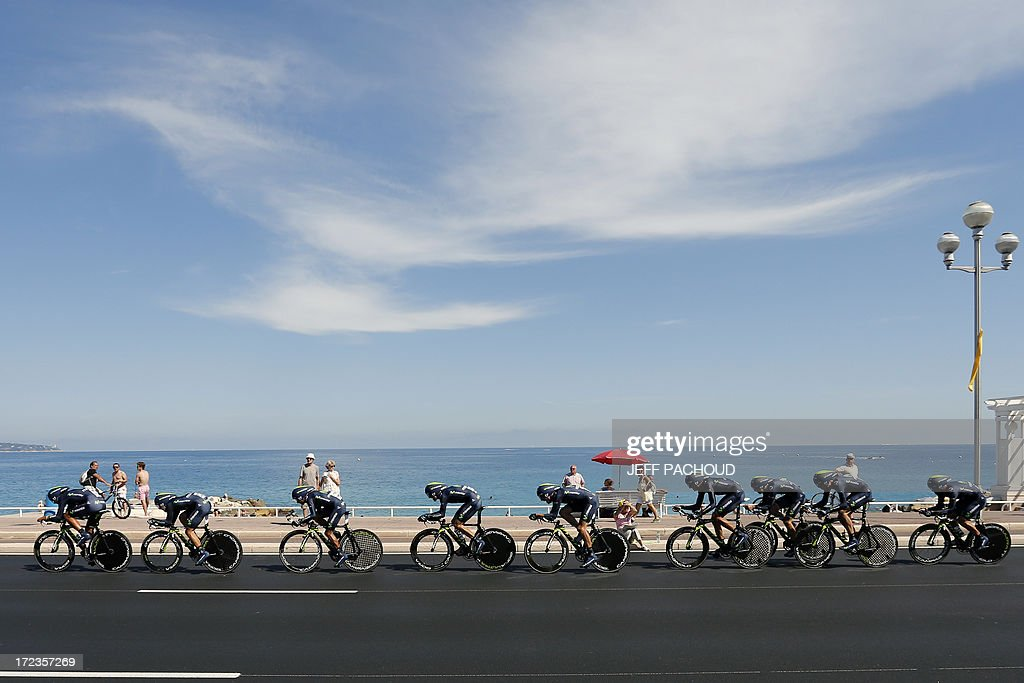 Riders of Movistar team compete during the 25 km team time-trial and fourth stage of the 100th edition of the Tour de France cycling race on July 2, 2013 around Nice, southeastern France.