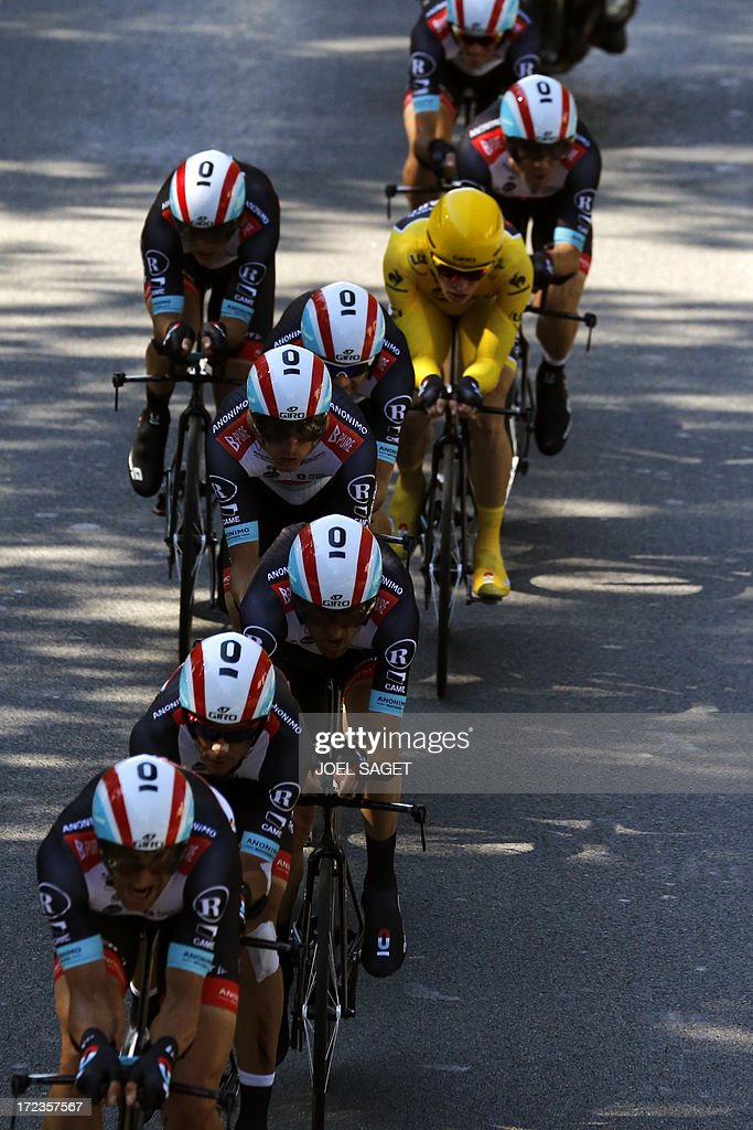 Riders of Radioshack Leopard team compete during the 25 km team time-trial and fourth stage of the 100th edition of the Tour de France cycling race on July 2, 2013 around Nice, southeastern France.