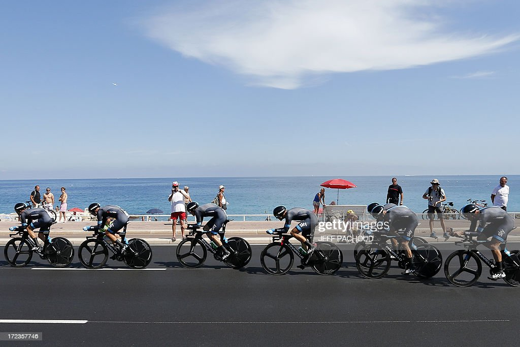 Riders of Sky team compete during the 25 km team time-trial and fourth stage of the 100th edition of the Tour de France cycling race on July 2, 2013 around Nice, southeastern France.