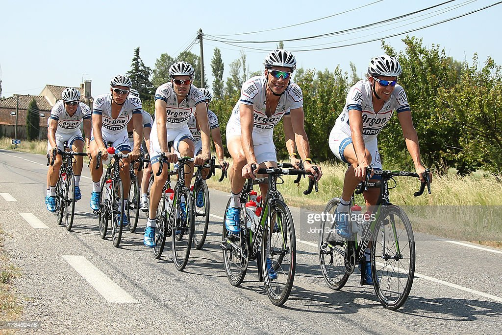 Riders of Team Argos-Shimano in action during the second rest day of the 2013 Tour de France on July 15, 2013 in Orange, Vaucluse, France.