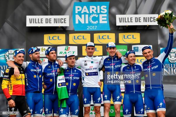 Riders of the Belgium's Quick Step Floors Belgium's Philippe Gilbert Italy's Fabio Sabatini New Zealand's Jack Bauer Belgium's Yves Lampaert France's...