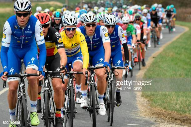 Riders of the Belgium's Quick Step Floors cycling team Belgium's Yves Lampaert Belgium's Philippe Gilbert France's Julian Alaphilippe wearing the...