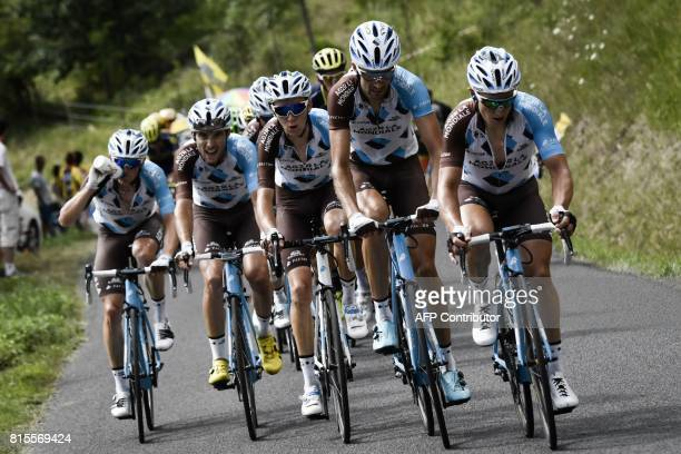 Riders of the France's AG2R La Mondiale cycling team France's Alexis Vuillermoz France's PierreRoger Latour France's Romain Bardet Luxemburg's Ben...