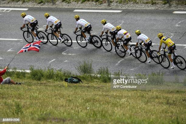 Riders of the Great Britain's Sky cycling team Great Britain's Luke Rowe Germany's Christian Knees Belarus' Vasil Kiryienka Poland's Michal...