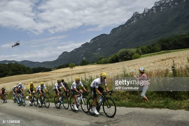 Riders of the Great Britain's Sky cycling team Poland's Michal Kwiatkowski Colombia's Sergio Henao Spain's Mikel Landa Spain's Mikel Nieve and Great...