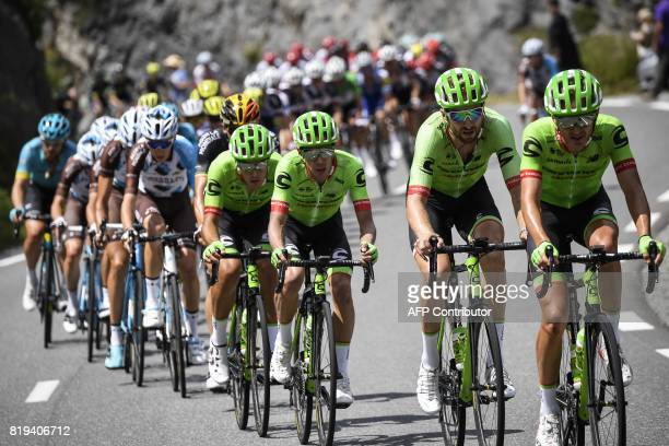 Riders of thz USA's Cannondale Drapac cycling team Australia's Simon Clarke USA's Taylor Phinney Colombia's Rigoberto Uran and USA's Andrew Talansky...