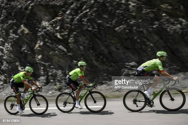Riders of thz USA's Cannondale Drapac cycling team USA's Taylor Phinney Colombia's Rigoberto Uran and Italy's Alberto Bettiol ride during the 1795 km...