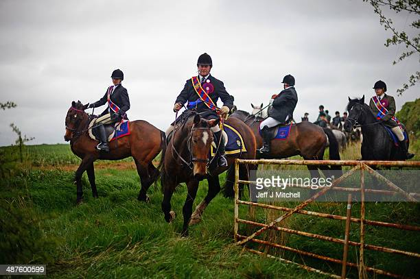 Riders on horses take part in the Riding of the Bounds on May 1 2014 in Berwick Upon Tweed England 2014 sees the 405th Riding of the Bounds a...