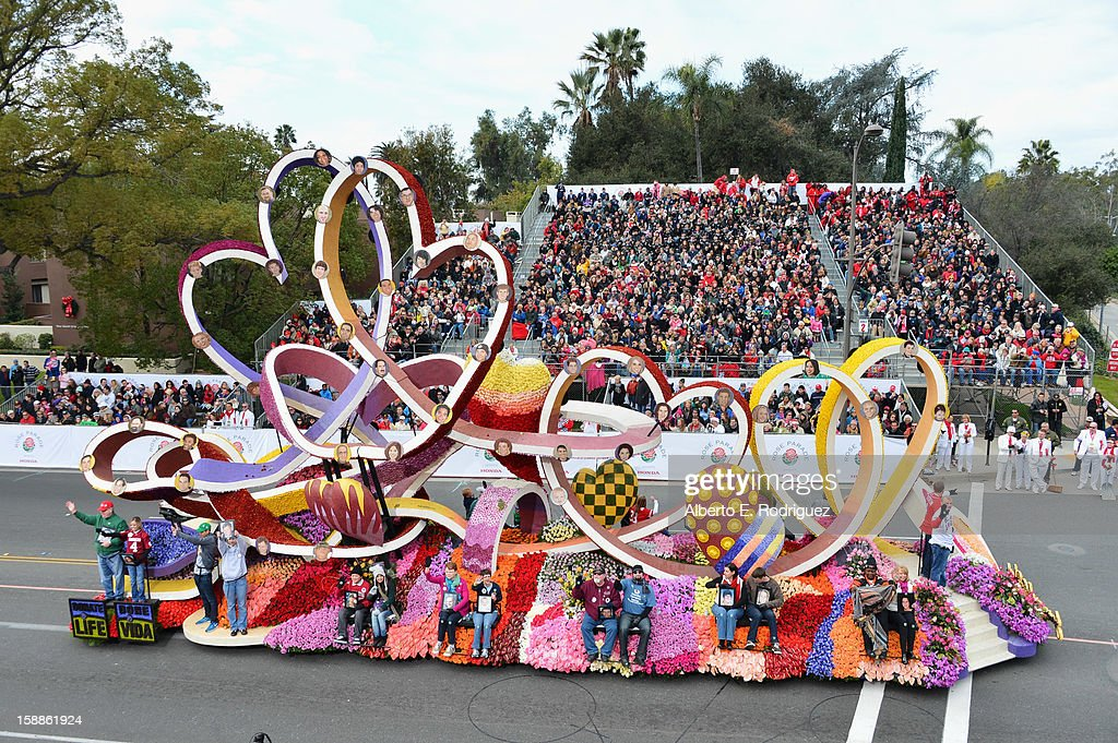 Riders on the Donate Life float participate in the 124th Tournamernt of Roses Parade on January 1, 2013 in Pasadena, California.
