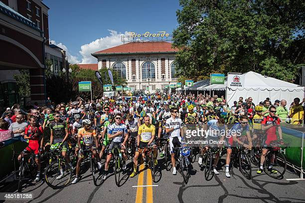Riders on the start line for stage 6 of the Tour of Utah on August 8 2015 in Salt Lake City Utah