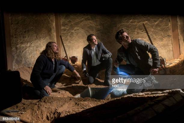 MIDNIGHT TEXAS 'Riders on the Storm' Episode 109 Pictured Jason Lewis as Joe Yul Vázquez as Rev Sheehan Francois Arnaud as Manfred