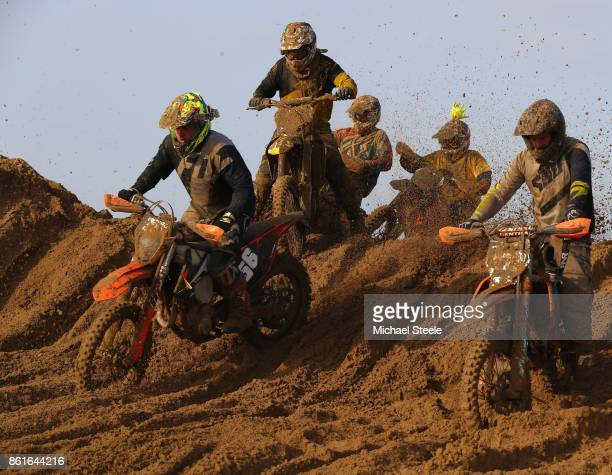 Riders on the top of a sand dune during the Adult Solo race during day two of the HydroGarden Weston Beach Race on October 15 2017 in WestonSuperMare...