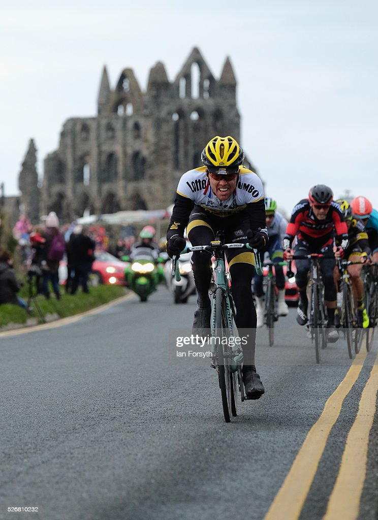 Riders pass in front of Whitby Abbey as they compete in stage three of the Tour de Yorkshire cycle race on May 1, 2016 in Whitby, England. Returning for a second year the hugely popular race has grown to be one of the most spectacular events in the British sporting calendar. Up to a million people have lined the route along the three stages of the race which ends today with the 198km Middlesbrough to Scarborough leg.
